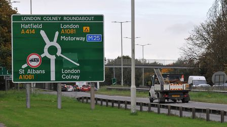 The A414 London Colney roundabout. Picture: Danny Loo.