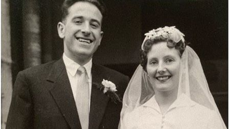 John and Margaret Dudley on thier wedding day 60 years ago