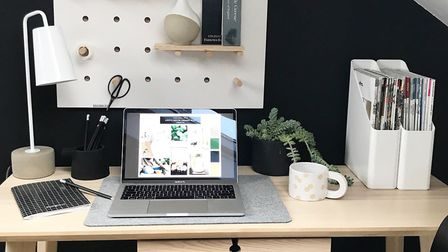 Workplace: a spare corner of a spare room. Picture: Katie Seidler