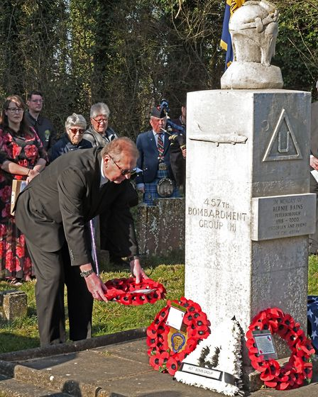 A wreath-laying ceremony was held at All Saints Church, Conington, to mark the 75th anniversary of t