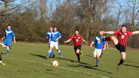 AFC Rangers forward Harvey Scott can't force the ball past the Allenburys keeper. Picture: BRIAN HUB