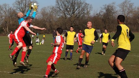 Action from Hanburys' 1-1 draw with Blacksmiths Res. Picture: BRIAN HUBBALL