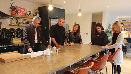 The judges admiring the craftsmanship of Chrissie's kitchen worktop. Picture: Sidney Street Producti