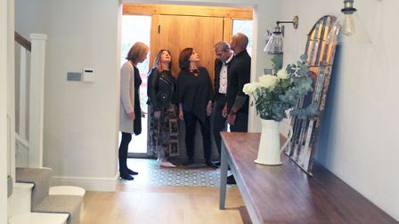 The judges in the hallway of Chrissie's winning home. Picture: Sidney Street Productions