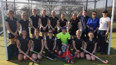 The successful Huntingdon 1sts team are back row, left to right, Cora Davies, Jacqui O'Neil, Jo Abel