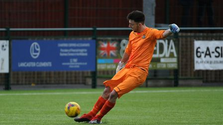 Goalkeeper James Philp saved a penalty during St Neots Town's draw at Redditch. Picture: MARK RIDER