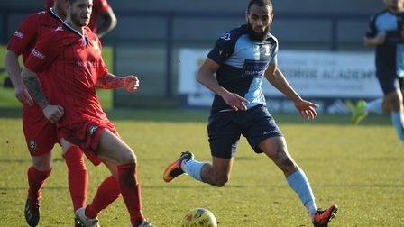 Goalscorer Gary Wharton in action for St Neots Town against Barwell. Picture: MARK RIDER