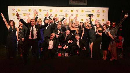 Staff from Churchill Retirement Living in St Albans celebrate second place in the top 100 best compa