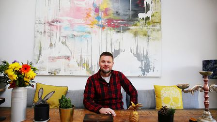 Stuart painted this huge abstract work with his family's living space in mind. Picture: DANNY LOO