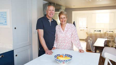 Pete and Alison inside their St Albans home. Picture: DANNY LOO