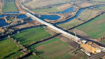 The River Great Ouse viaduct includes 6,000 tonnes of steel beams. Picture: HIGHWAYS ENGLAND