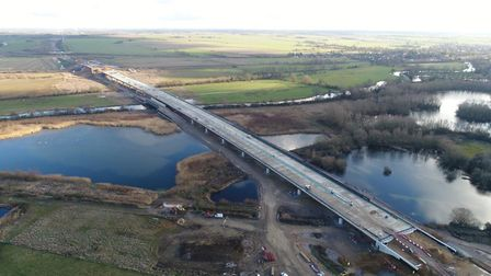 Work has finished on the half-mile long River Great Ouse viaduct on the new A14. Picture: HIGHWAYS E