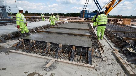Some of the concrete deck slabs being pre-fabricated at the A14 on-site pre-cast yard last year. Pic