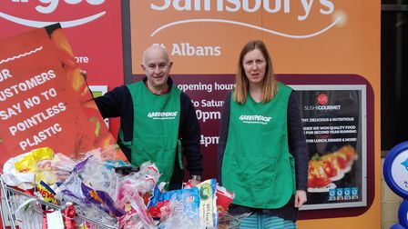St Albans Greenpeace tackles plastic waste in Sainsbury's. Picture: St Albans Greepeace