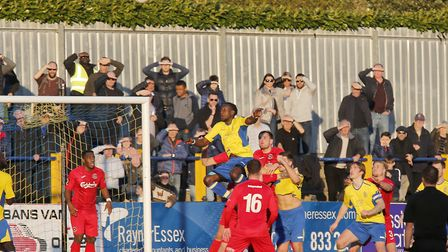 David Moyo rises highest for St Albans City against Truro. Picture: LEIGH PAGE