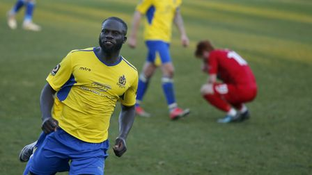 Dave Diedhiou celebrates his late equaliser. Picture: LEIGH PAGE