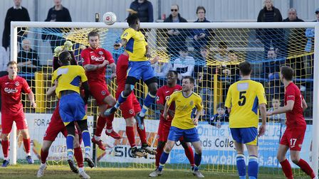 David Moyo's header just before half-time was ruled out for a push by Dave Diedhiou, seen on the lef