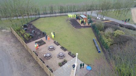 An aerial view of the new sensory garden at Wood Green Animal Shelter in Godmanchester. Picture: CON