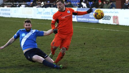 Ben Seymour-Shove found the net as St Ives Town triumphed at Banbury. Picture: GEMMA THOMPSON