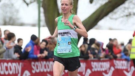 Jo O'Regan of Riverside Runners during the Cambridge Half-Marathon. Picture: SUBMITTED