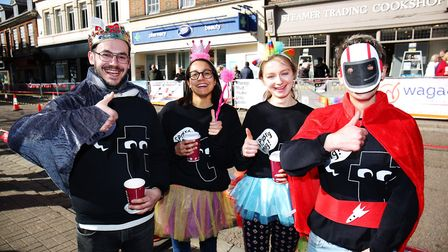 Team Flying Tiger Copenhagen at the St Albans pancake race 2019. Picture: DANNY LOO