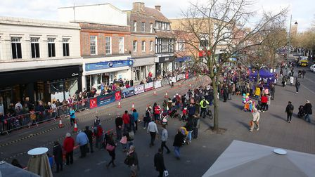 Spectators watch the St Albans pancake race 2019. Picture: DANNY LOO