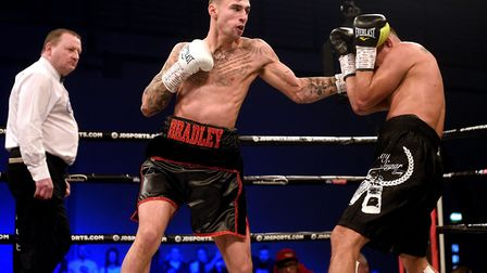 St Ives star Bradley Smith during his victory against Oscar Amador at the East of England Arena, in