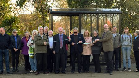 The ribbon is cut on one of the new bus stops in Houghton. Picture: ARCHANT