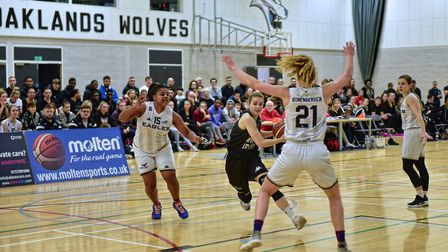 Lizzy Harrison in action for Oaklands Wolves against Newcastle Eagles in the WBBL. Picture: LELLO AM