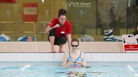 Herts Advertiser reporter Franki Berry has some swimming lessons at Westminster Lodge with swim teac