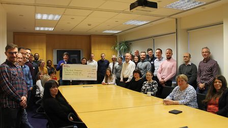Peter Gurr presenting the cheque to Verity Bramwell. Picture: Taylor Wimpey