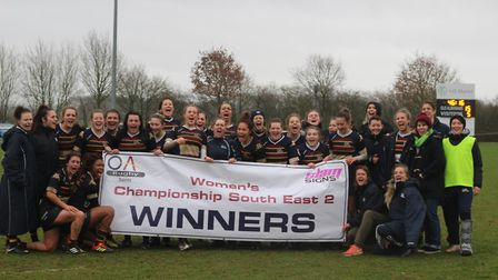OA Saints celebrate winning the Women's Championship South East Two title following victory over Med