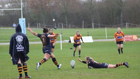 Aisha Abumarzouq was unsuccessful with this conversion attempt for OA Saints against Medway. Picture
