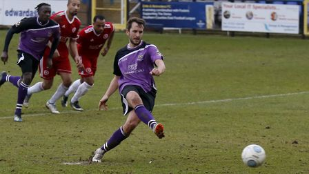 Sam Merson slots home from the penalty spot. Picture: LEIGH PAGE