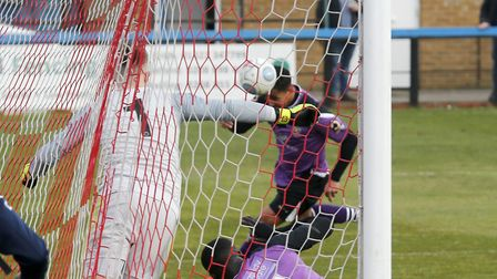 Zane Banton heads home St Albans City's first goal at Welling United. Picture: LEIGH PAGE