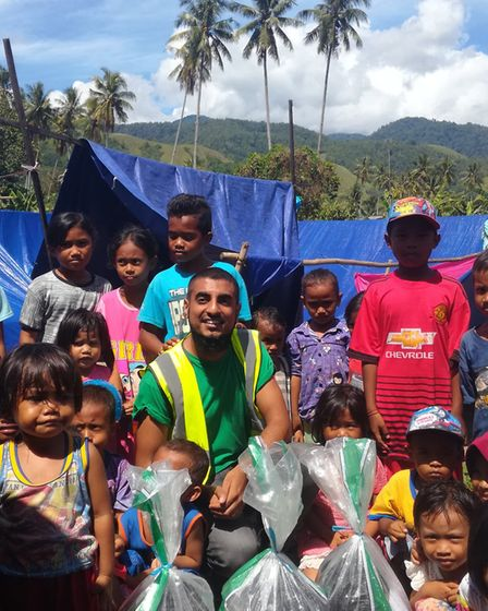 Khaled Hassan from St Albans delivered food and hygiene items to displaced people living in camps in