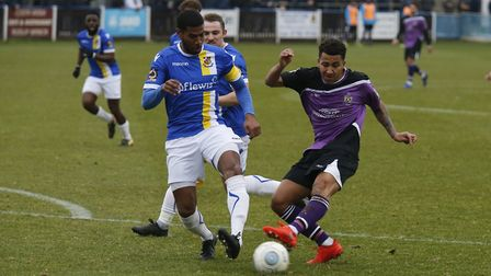 Zane Banton looks to get a shot away for St Albans City at Wealdstone. Picture: LEIGH PAGE