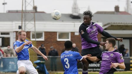 David Moyo powers a header at goal. Picture: LEIGH PAGE