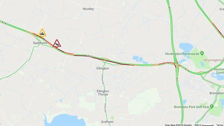 The incident is causing long delays on the A14. Picture: CONTRIBUTED