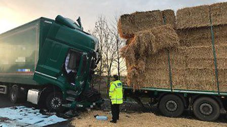 The scene of the collision on the A14. Picture: HUNTS POLICE