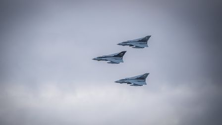 These pictures of the Tornados flying over RAF Wyton were captured by Charlie Abbott.