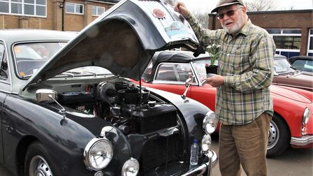 Melbourn man Richard Symonds proudly displays his 1958 MG Magnette ZB with a five-speed gearbox. Pic
