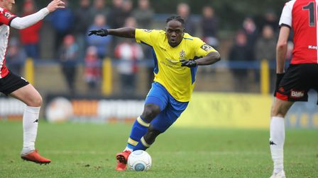 Solomon Sambou has been named St Albans City player of the month for January.Picture: Karyn Hadd