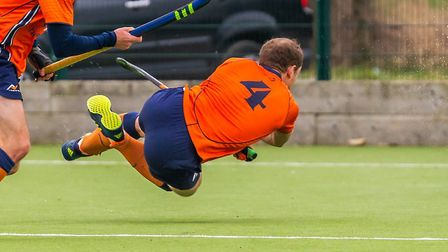 Matt Davey in full flight when scoring St Albans' second goal against Ipswich. Picture: CHRIS HOBSON