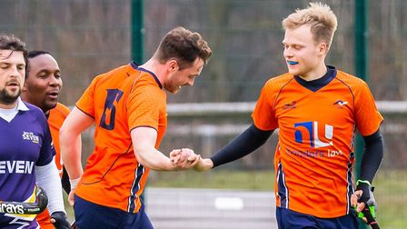 Dave Williams and Charlie Bowskill celebrate St Albans' third goal against Ipswich. Picture: CHRIS H