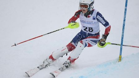 St Albans' Alison Hills in action at the FIS Masters World Cup.