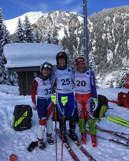 Alison Hills with the British Masters Skiing Team.