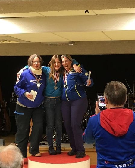 St Albans' Alison Hills on the podium at the FIS Masters World Cup.