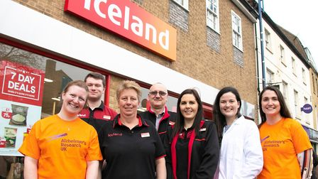 Iceland staff with Dr Claire Durrant outside the store in St Neots