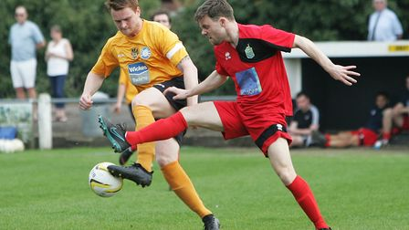 James Ewington scored five in Harpenden Town's 9-0 win over Stotfold in April 2018. Picture: KARY